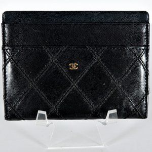 Authentic CHANEL Quilted Leather Wallet/ID Holder